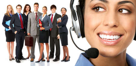 Beautiful  business woman with headset and business people photo