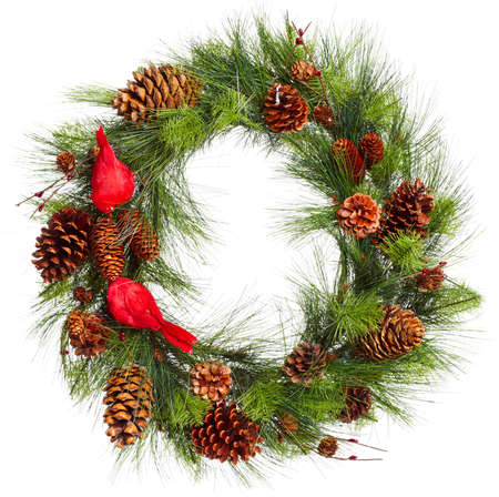 pine wreath: Christmas Tree Decoration garland. Isolated over white background