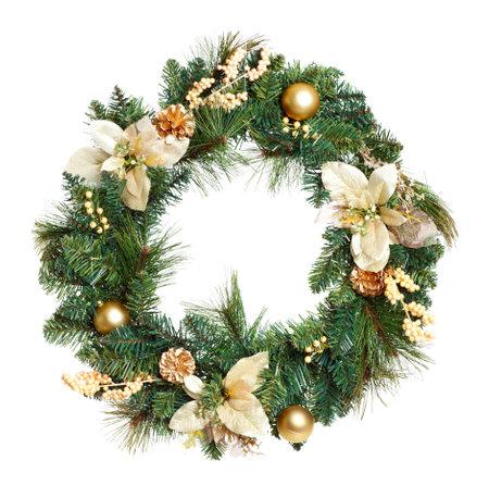 Christmas Tree decoratie slinger. Geïsoleerd op witte achtergrond  Stockfoto