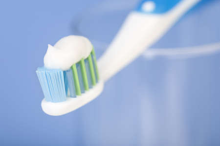 tooth brush. Over blue background  Stock Photo