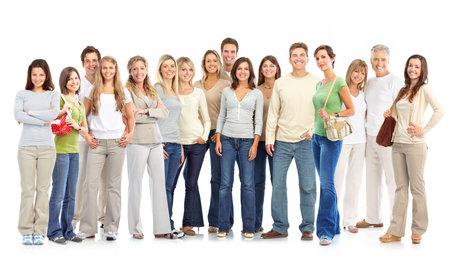 grote groep mensen: Gelukkige mensen. Geïsoleerd op witte achtergrond  Stockfoto