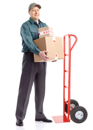 Delivery worker with hand truck. Isolated over white background Stock Photo - 7980751