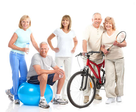 senior couples: Gym, Fitness, healthy lifestyle. Smiling people. Over white background