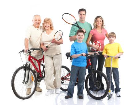 체육관, 피트 니스, 건강 한 라이프 스타일입니다. 웃는 사람들. 흰색 배경 위에