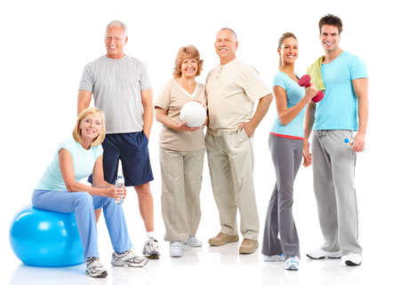 Gym, Fitness, healthy lifestyle. Smiling people. Over white background Фото со стока - 7980765