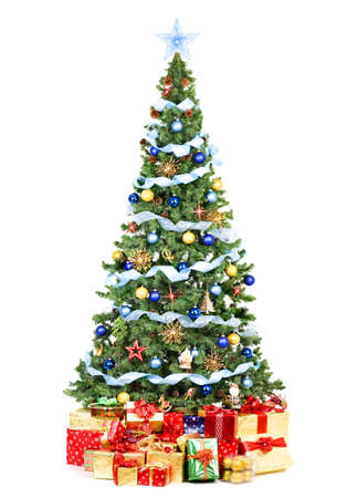 christmas decor: Christmas Tree and Gifts. Over white background  Stock Photo