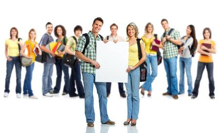 Große Gruppe von lächelnd Studenten. Isolated over white background