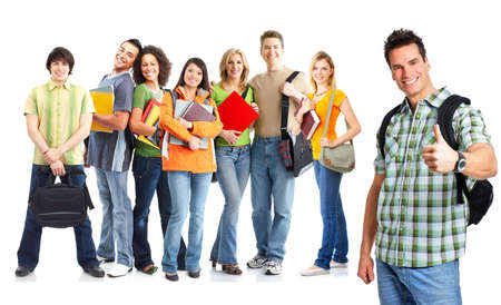 Large group of smiling  students. Isolated over white background Stock Photo - 8074333