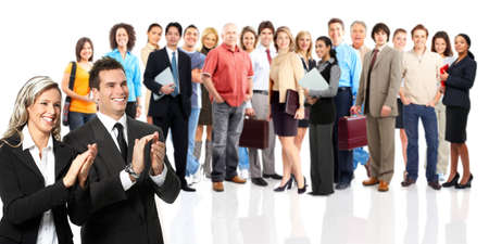 huge: Group of business people. Business team. Isolated over white background