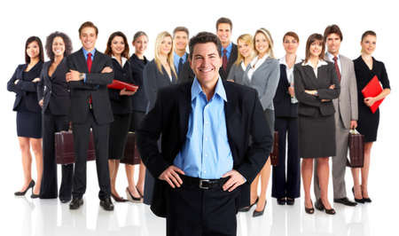 big smile: Group of business people. Business team. Isolated over white background