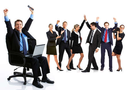 Groep van mensen uit het bedrijfsleven. Zakelijke team. Geïsoleerd op witte achtergrond  Stockfoto
