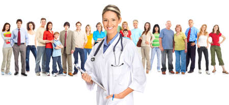 Smiling  medical doctor and people. Over white background  photo