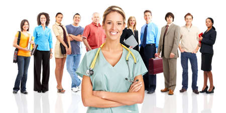 Smiling  medical doctor and people. Over white background