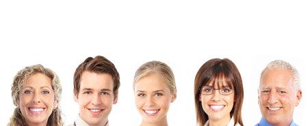 Gelukkige glimlachende mensen. Op witte achtergrond