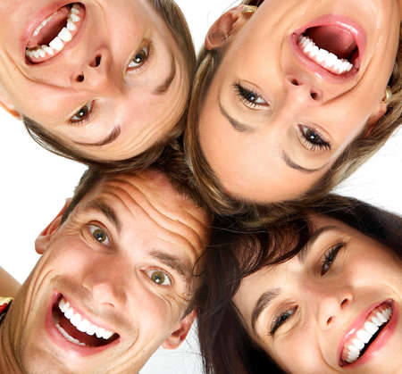 Happy people. Isolated over white background  photo