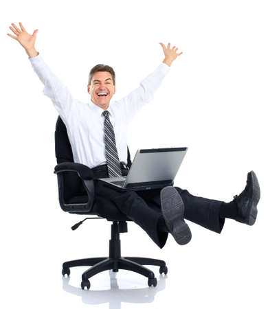 manager: Successful businessman  working with laptop. Over white background