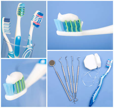 歯科用ツール、フロス、歯ブラシ。青い背景上