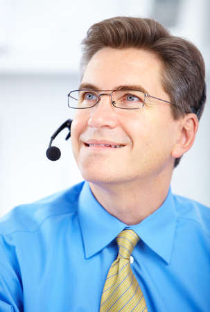 Smiling customer service operator in the office Stock Photo - 8170216