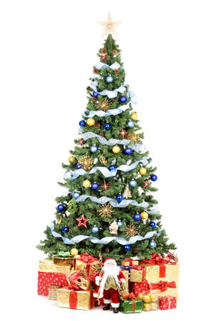 Christmas Tree and Gifts. Over white background  Stock Photo