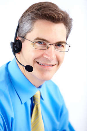 Smiling  businessman  with headset. Over white background