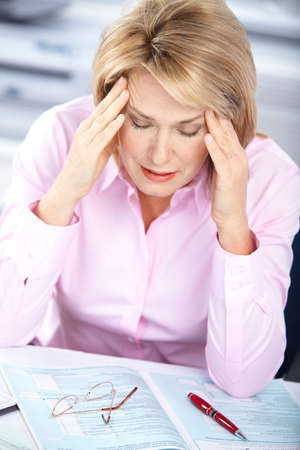 business woman  having stress in the office Stock Photo - 8255791