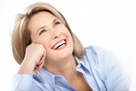 euforia: Feliz mujer madura con gran sonrisa