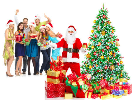 Santa, people  and Christmas Tree. Over white background  photo