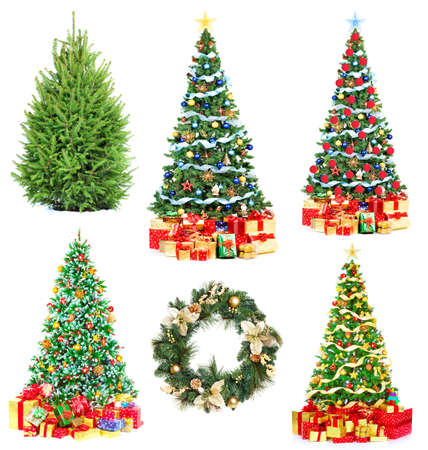 Christmas Tree and Gifts. Over white background  Imagens