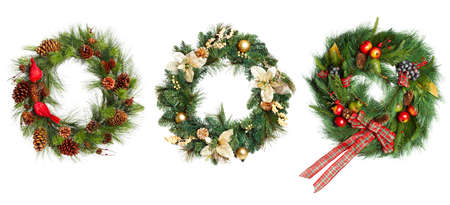 garland: Christmas Tree Decoration garland. Isolated over white background