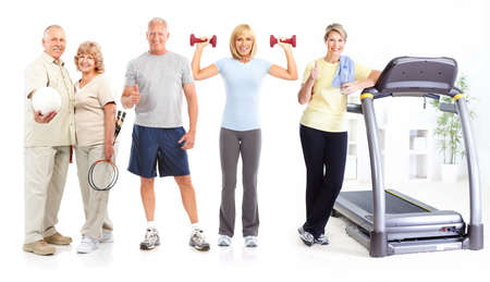 Gym, Fitness, healthy lifestyle. Smiling people. Over white background Фото со стока - 8293680
