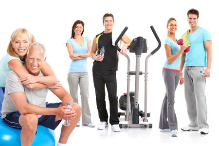 Gym, Fitness, healthy lifestyle. Smiling people. Over white background Stock Photo - 8293681