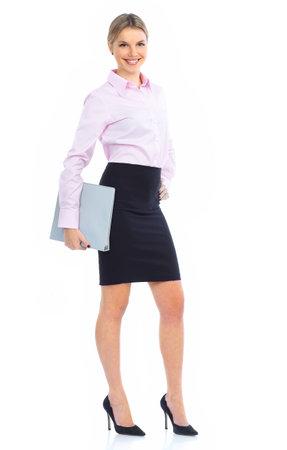 sexy secretary: Mujer de negocios sonriente. Aislados sobre fondo blanco  Foto de archivo
