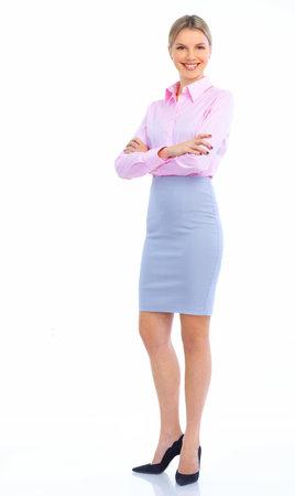 secretaria sexy: Mujer de negocios sonriente. Aislados sobre fondo blanco  Foto de archivo