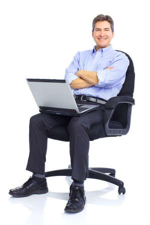 middle age: businessman  working with laptop. Over white background