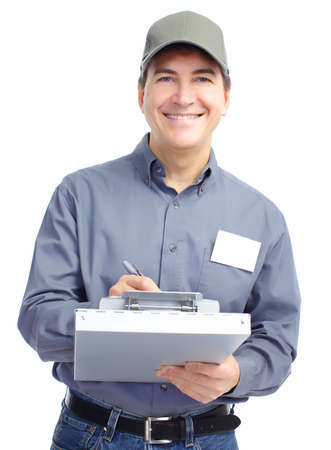 Mature handsome worker. Isolated over white background  photo