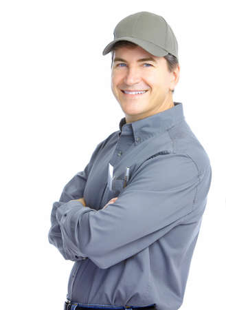 industrial worker: Mature handsome worker. Isolated over white background