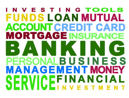 personal banking: Bank. Banking. Money. Personal. Business. White background