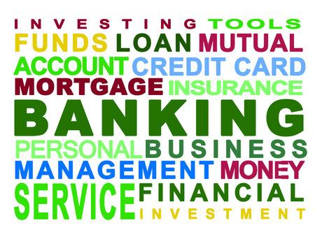 Banque. Bancaire. Argent. Personnels. Entreprise. Fond blanc Banque d'images - 8430934