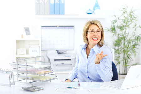 Happy  business woman in the office Stock Photo - 8430829
