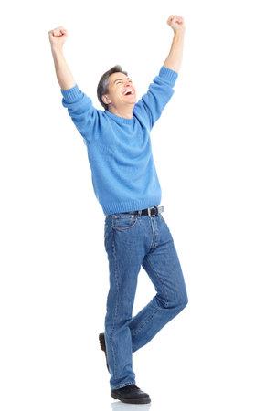 ハンサムな幸せな男。白い背景の上の分離 写真素材 - 8459533