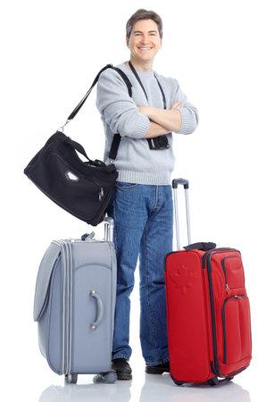 maletas de viaje: Hombre feliz tur�stica guapo. Aislados sobre fondo blanco  Foto de archivo