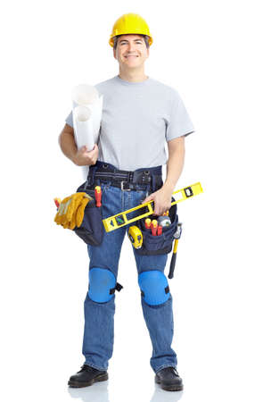 Handsome builder . Isolated over white background Stock Photo - 8459541