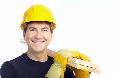 manufactory: Handsome builder . Isolated over white background