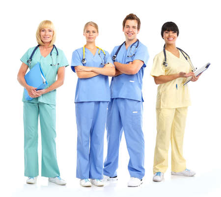 surgical nurse: Smiling medical doctors with stethoscopes. Isolated over white background