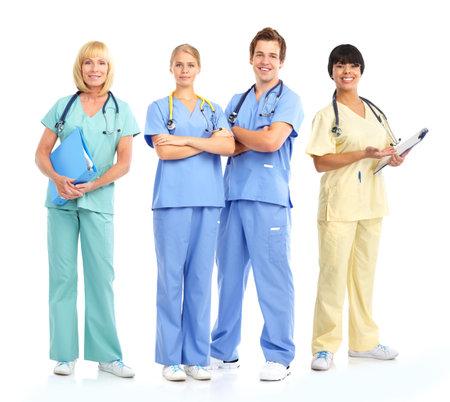 stethoscopes 웃는 의료 사람들과. 흰색 배경 위에 절연