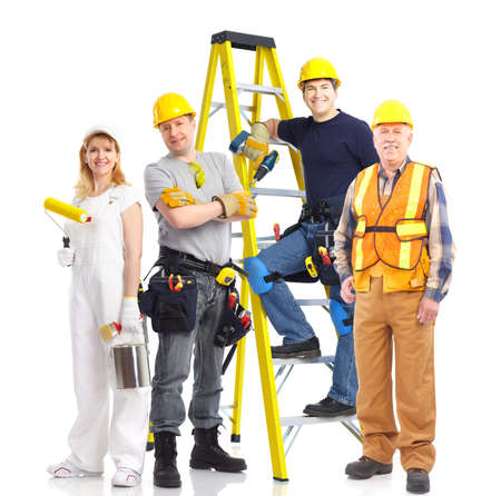 building worker: Industrial workers people. Isolated over white background  Stock Photo
