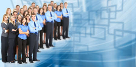 lady boss: Group of young smiling business people.   Stock Photo