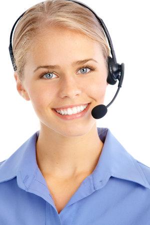 Mooie zaken vrouw met hoofd telefoon. Call center. Customer support. Helpdesk.   Stockfoto