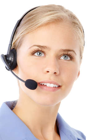 handsfree phone: Beautiful  business woman with headset. Call center. Customer support. Helpdesk.
