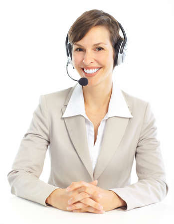 call: Beautiful  business woman with headset. Call center. Customer support. Helpdesk.